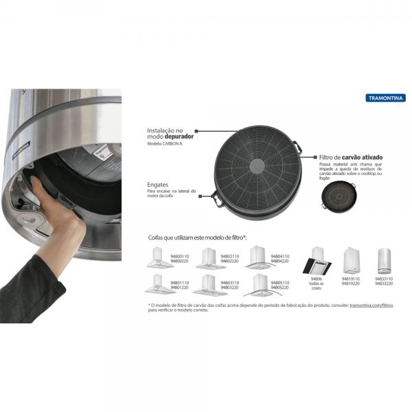 Filtro de Carvão Ativado Carbon A para Coifas Tramontina Instruções